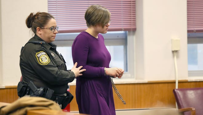 Morgan Geyser is led into the courtroom Feb. 13 at the Waukesha County Courthouse for a hearing. Geyser's attorney's request for a change in venue and to have her statements she made to police the day of the stabbing attack suppressed were denied.
