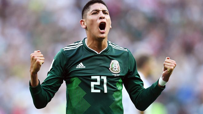 Mexico defender Edson Alvarez (21) celebrates after defeating Germany in a group-stage game at the World Cup on June 16, 2018. Delaware casinos will lose $56,000 if Mexico wins the World Cup.