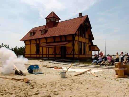 Historic interpreters demonstrate shipwreck rescue