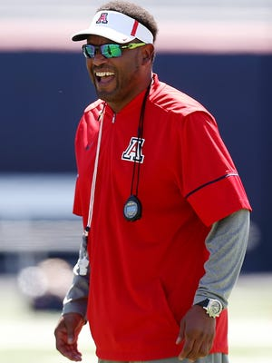 Arizona Wildcats head coach Kevin Sumlin during the Arizona Wildcats spring football scrimmage on April 7, 2018, at Arizona Stadium in Tucson, Ariz. The spring game is April 14 at 5 p.m.