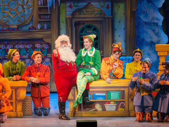 """Santa (Ken Clement), Buddy (Eric Williams) and the cast of the national touring company of """"Elf The Musical."""""""
