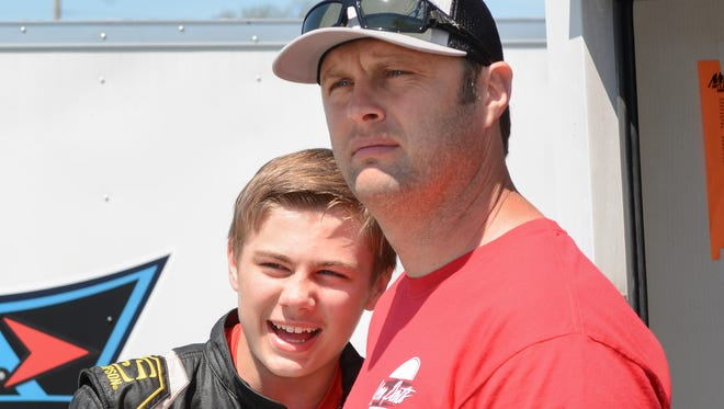Travis Kvapil, the 2003 NASCAR truck champion, has given son Carson his first opportunities in the Midwest Truck Series and TUNDRA super-late models this year.