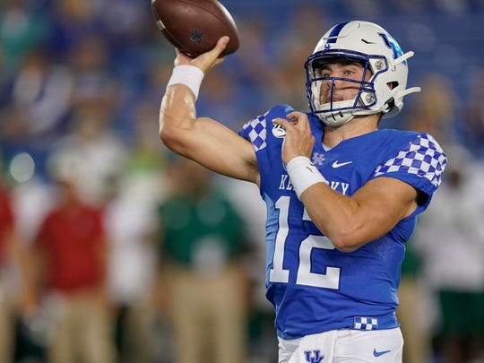 Kentucky quarterback Sawyer Smith raises an arm to throw a pass in this Sept. 7, 2019 photo. The Mississippi town of Arm has nothing to do with the appendage.