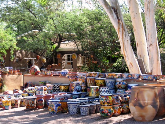More than 80 shops and restaurants are clustered in the plaza at Tubac, where old adobes, Spanish courtyards and ocotillo fences blend seamlessly with a handful of newer buildings.
