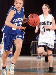 Central High School senior Rachel Espinoza pushes the ball up the floor against South during South-Central League action in 2007.