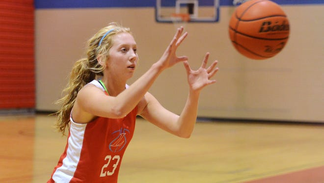 Anna Brecht catches a pass while running through a drill at Lincoln basketball practice Thursday, Dec 10, 2015.