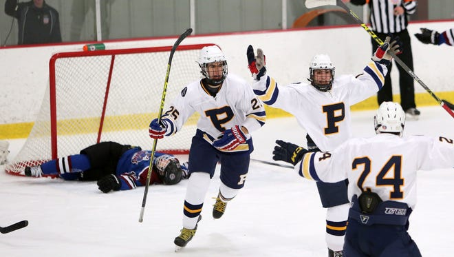 Pelham's Stefan Miklakos (19) celebrates his first period goal against Rye Town/Harrison with teammates Nathaniel Heintz (25) and Gibson Smith (24) during the Section 1 championship hockey game at The Brewster Sports Arena  Feb. 26, 2016. Pelham won the game 5-1.