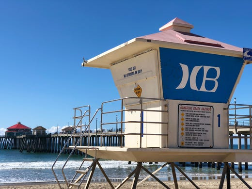 The Huntington Beach Pier In Background With A