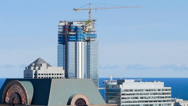 A view of the new Northwestern Mutual tower and Milwaukee skyline is seen from the roof of the Moderne apartment and condominium complex in Milwaukee on September 1, 2016.  Photo by Mike De Sisti /MDESISTI@JOURNALSENTINEL.COM