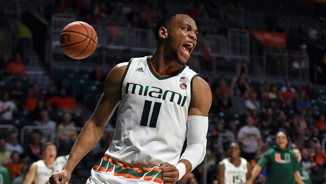 Dec 31, 2016; Coral Gables, FL, USA; Miami Hurricanes guard Bruce Brown reacts after dunking against North Carolina State during the second half at Watsco Center.