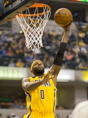 C.J. Miles puts in a dunk for the Pacers, Houston Rockets at Indiana Pacers, Bankers Life Fieldhouse, Indianapolis, Sunday, March 27, 2016.
