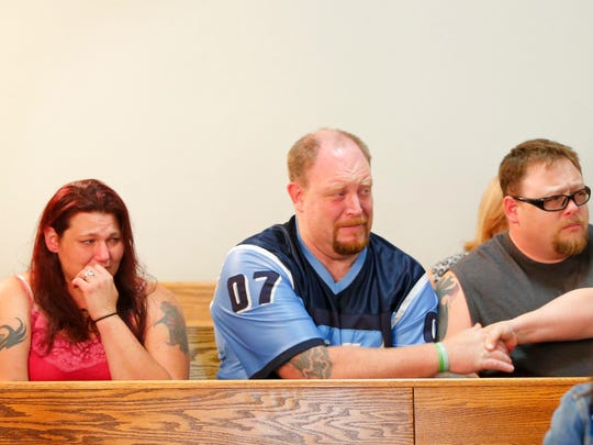 Family members of the two men killed in the crash that resulted in Deanna Marie Gliem earlier OWI arrest react to the revocation of her bond during a hearing Monday, June 20, 2016, following a second OWI.