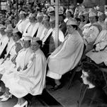Gold Star Mothers of Rochester, who gave their sons in two wars, World War I and recently, World War II, view the Memorial Day parade from the reviewing stand. (staff photo, 5/1947) DC 5/31/1947