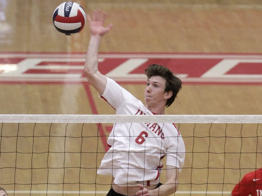Erik Vanzandt of Fairfield spikes from the middle hitter position for the GMC champs against McNick at home Wednesday, May 13.