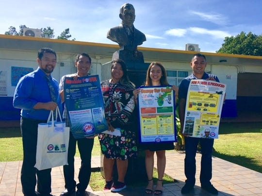 Guam Power Authority donated education and informational materials to the Vicente S.A. Benavente Middle School Math and Science Departments on Dec. 18. Pictured from left: Patrick Flores Egrubay, Principal; Dennis Malilay, 6th Grade Assistant Principal; Riza Tugade, 7th Grade Science Teacher; Ruth Cuenco, Instructional Coach and Eric Dela Cruz, 8th Grade Assistant Principal
