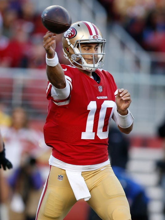 San Francisco 49ers quarterback Jimmy Garoppolo (10) throws against the Tennessee Titans during the second half of an NFL football game Sunday, Dec. 17, 2017, in Santa Clara, Calif. (AP Photo/D. Ross Cameron)