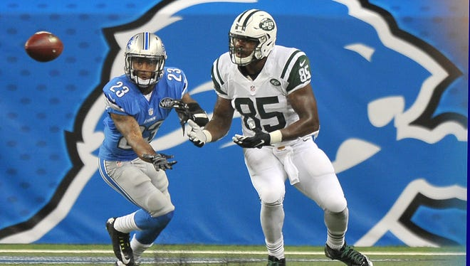 Lions cornerback Darius Slay breaks up a pass during last week's win over the Jets.