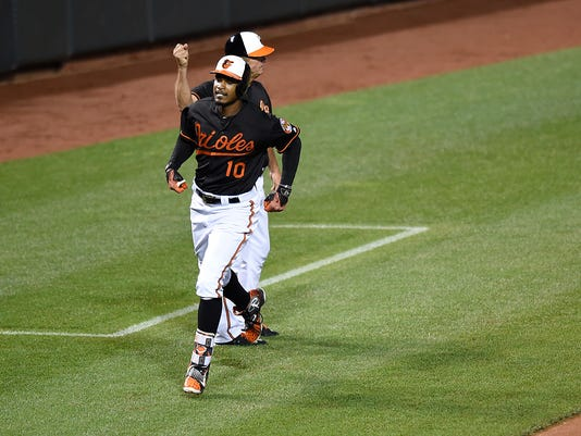 Baltimore Orioles' Adam Jones (10) is congratulated by third base coach Bobby Dickerson after hitting a solo home run against the Tampa Bay Rays in the sixth inning of a baseball game, Friday, June 24, 2016, in Baltimore. (AP Photo/Gail Burton)