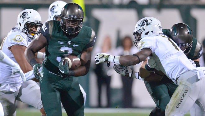 Michigan State's LJ Scott hopes to build on his two-touchdown performance against Air Force on Saturday.