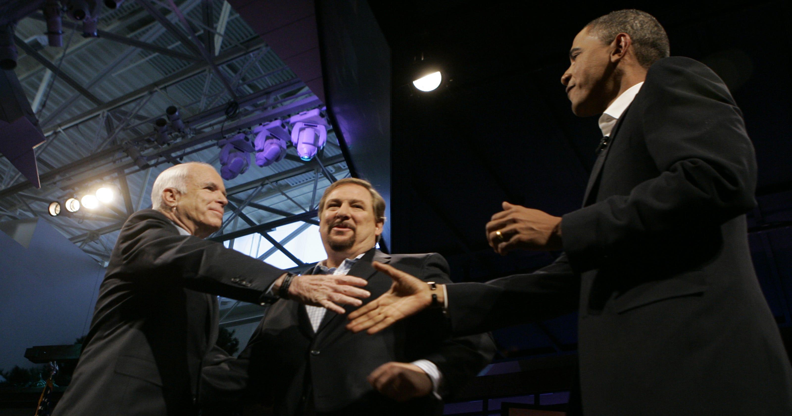 John McCain takes on Barack Obama in the 2008 presidential election
