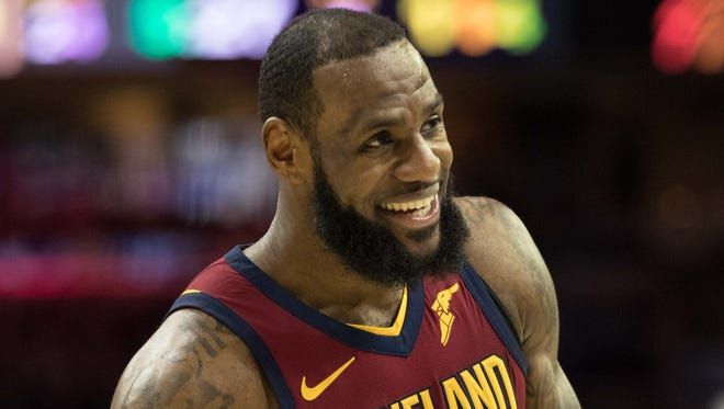 LeBron James during a playoff game against the Philadelphia 76ers.