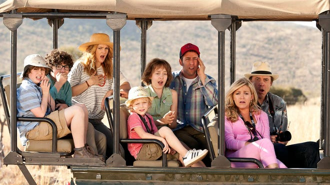 "Drew Barrymore, left, Adam Sandler, center, and Kevin Nealon, right, on safari in a scene from the movie ""Blended."""