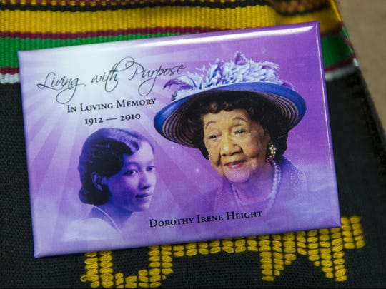 The Neptune Township Post Office hosts an unveiling for the Dorothy Height stamp. This is not the stamp, a pin one of the ladies was wearing that shows Height. Height was a civil rights pioneer who lived from 1912-2010.  Neptune, NJ Wednesday, February 21, 2017. @dhoodhood