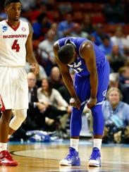 Seton Hall Pirates forward Angel Delgado (31) reacts late in last year's NCAA Tournament loss to Arkansas.