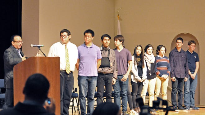 At Salinas High on Thursday, assemblymember Luis Alejo honors ten top science and engineering students for their academic achievements. Two students were selected by random drawing to travel to Kenya as part of a PG&E sponsored humanitarian mission.