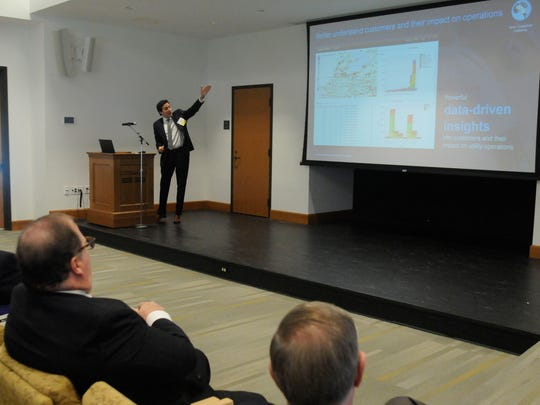 Dario Gil, vice president of Science and Technology at IBM's T.J. Watson Research Center in Yorktown Heights, gives the keynote address at the Renewable Energy Conference held at Marist College.