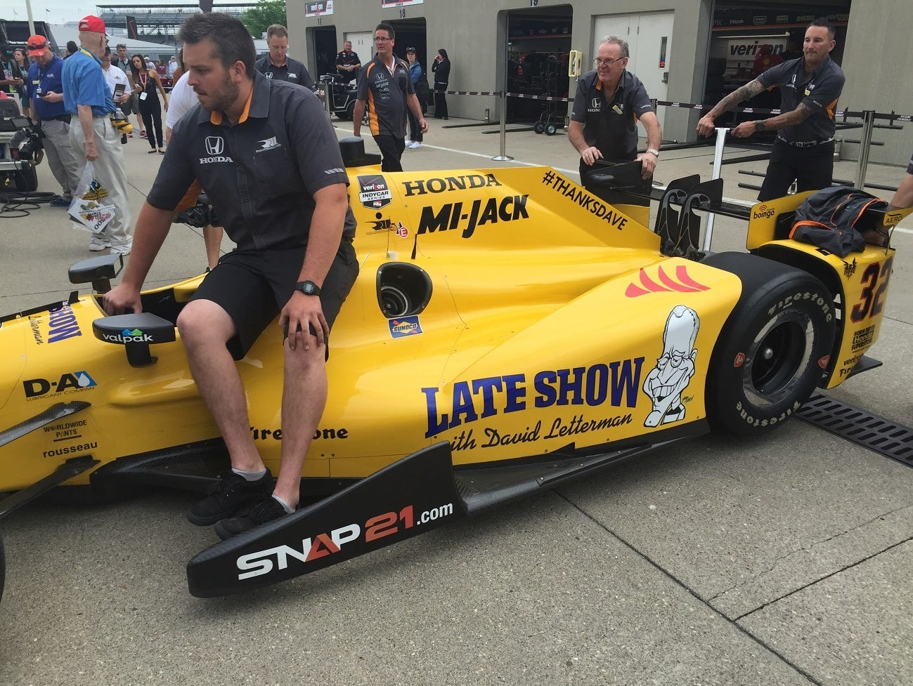 "Oriol Servia drove this ""Late Show with David Letterman"" car in the 2015 Indianapolis 500."
