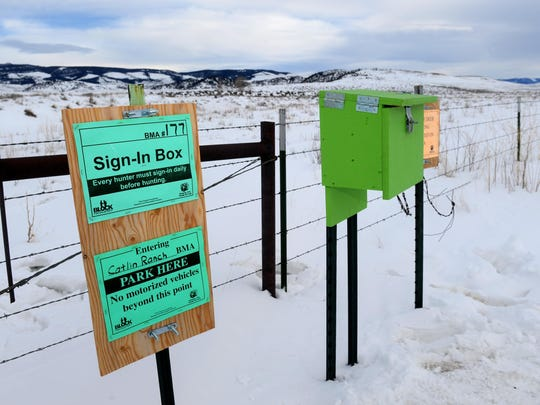Block management sign in box for Fish Wildlife and Parks' pilot shoulder season elk hunt near White Sulphur Springs. Gov. Steve Bullock visited White Sulphur Springs on Friday to view elk and learn about the trial hunt, which according to FWP was a success.