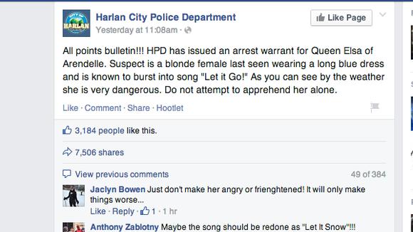 "Harlan, Kentucky police issued ""joke"" arrest warrant for Queen Elsa from ""Frozen"""