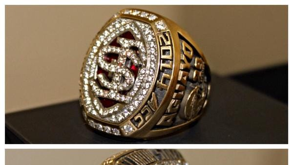 FSU received its championship rings for winning the ACC title and reaching the playoffs.