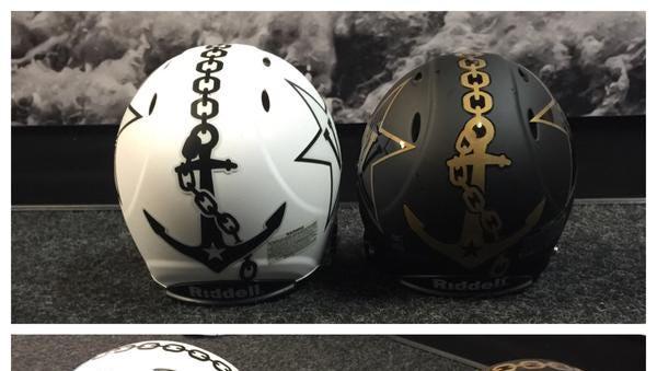 Image of Vanderbilt's new helmets for 2015 season.