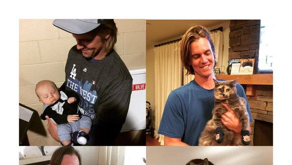 Zack Greinke poses with son Bode and cat Wilsy.