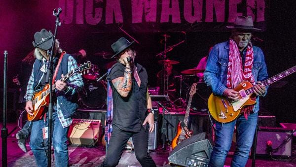 """Brad Whitford, Robert Wagner and Derek St. Holmes perform at the first annual Dick Wagner """"Remember the Child"""" Memorial Concert."""
