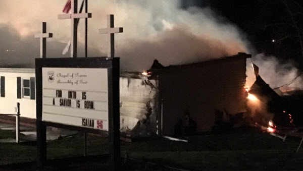An early morning fire damaged Chapel of Praise Assembly of God Church in Falmouth