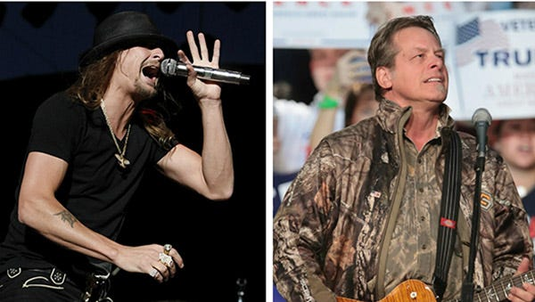 Kid Rock, left, photographed by Dan Steinberg. Ted Nugent, right, photographed by Scott Olson/Getty Images.