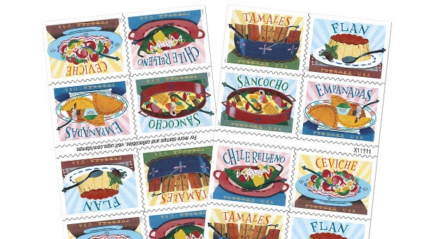 A new series of US Postal Service stamps is dedicated to the influence of Central and South American, Mexican and Caribbean foods and flavors on American cuisine.