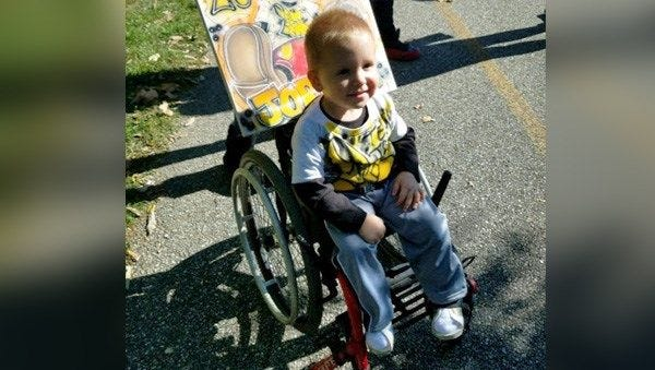 3-year-old Jordan Eckhart has spina bifida and is paralyzed from the waist down. His wheelchair was stolen Sunday.