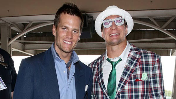 New England Patriots tight end Rob Gronkowski (right) wore a plaid suit to the 2015 Kentucky Derby alongside teammate Tom Brady (left). May 2, 2015