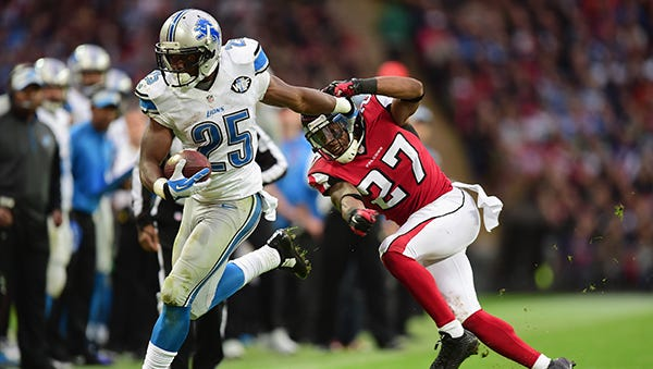 Theo Riddick and the Lions are off this week and return to action Nov. 9 against the Dolphins.