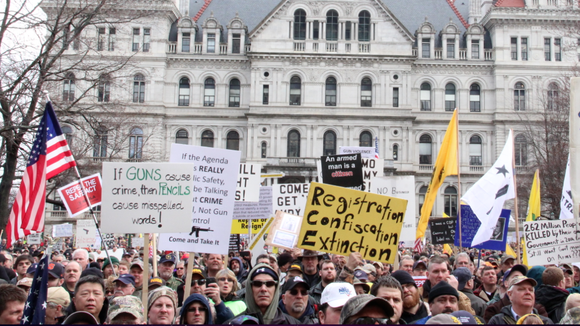 File photo of a gun rally in Albany.