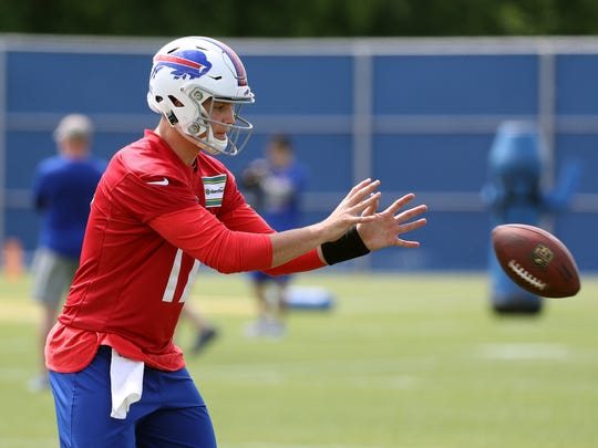Bills rookie quarterback Josh Allen takes a snap during
