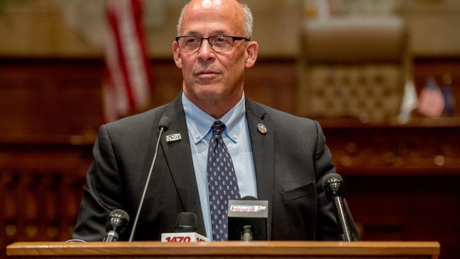 Peoria Mayor Jim Ardis announces his intention not to run for reelection during a news conference Wednesday, Oct. 14, 2020 at City Hall.