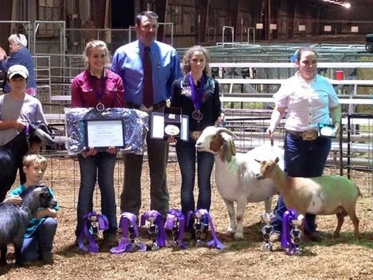 Pictured are exhibitors that were winners:  Mackenzie Roberie, Sophie Guillory, Emmerson Lyons. Also pictured helping are Colton Bertrand, Trevor Bertrand, and Cole Guillory.
