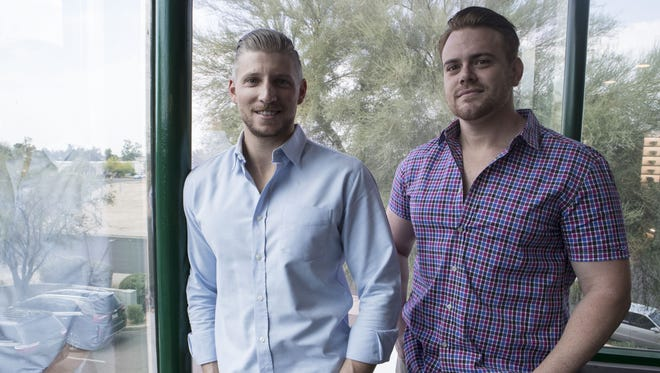 Justin Schudel (left) and Jonathan Ghiz, co-owners of Supurb, created their Tempe company that harnesses the convenience of services like Uber and Postmates to provide medical-marijuana delivery from dispensaries to patients.