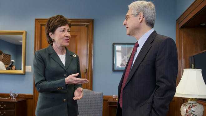Judge Merrick Garland, right, President Barack Obama's choice to replace the late Justice Antonin Scalia on the Supreme Court, meets with Sen. Susan Collins, R-Maine, on Capitol Hill in Washington, Tuesday, April 5, 2016. Republican senators, at the insistence of Majority Leader Mitch McConnell, R-Ky., remain steadfast in refusing to hold hearings or a confirmation vote on the nomination during the waning months of Obama's presidency.