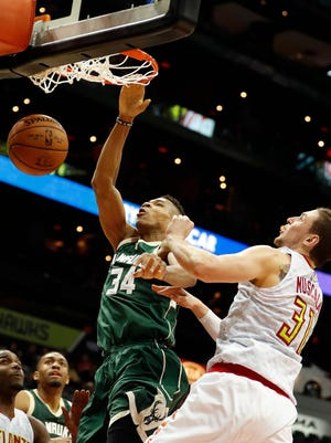 Bucks playmaker Giannis Antetokounmpo had 26 points, 15 rebounds and seven assists in Milwaukee's 107-100 loss Wednesday night to the Hawks in Atlanta.